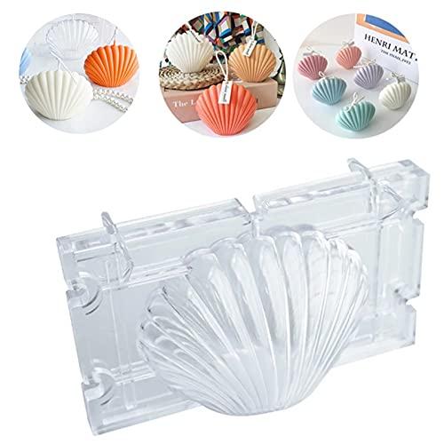 Moldes para Velas de Concha Molde de Plástico para Hacer Velas Molde de Vela 3D DIY para Moldear Velas de Plástico, para Fabricación de Velas, Jabón, Kit DIY Hecho Mano para Hornear Chocolate