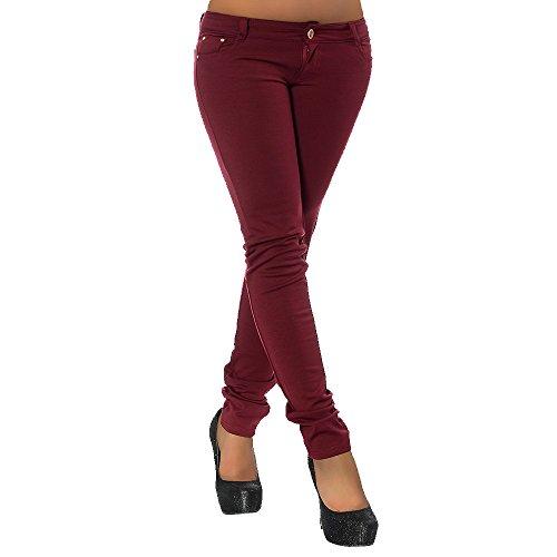 G701 Damen Jeans Look Hose Röhre Leggings Leggins Treggings Skinny Jeggings, Farben:Bordeaux;Größen:40 (L)