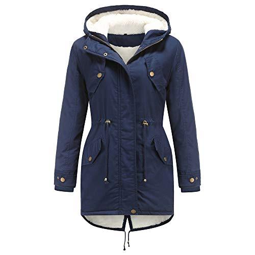 YEBIRAL Damen Winter Jacke Mittellange Winterjacke mit Kapuze Teddyfell warm gefüttert Wintermantel Parka Mantel(XXL,Marine Blau)