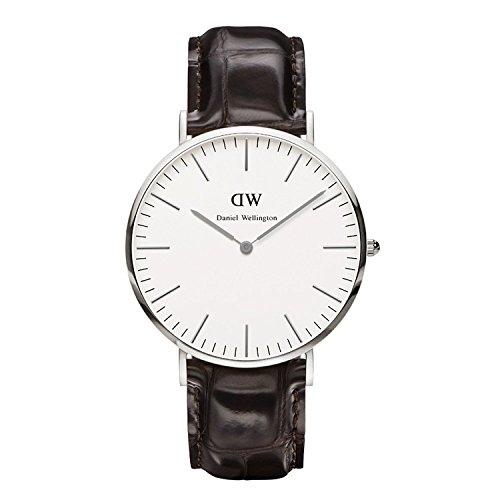 Daniel Wellington Herren-Armbanduhr York Analog Quarz One Size, weiß, Dunkelbraun