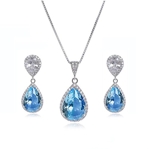 AMYJANE Wedding Jewelry Set for Women - Sterling Silver Teardrop Aquamarine Blue Cubic Zirconia Crystal Rhinestone Drop Earrings and Necklace Bridal Jewelry Sets Best Gift for Bridesmaids