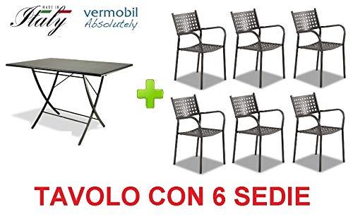 Klaptafel voor buiten, model Vegas 120 x 80 cm, art. VE120 + 6 stoelen, van verzinkt ijzer, gelakt, kleur ijzer, antiek, gemaakt in Italië.