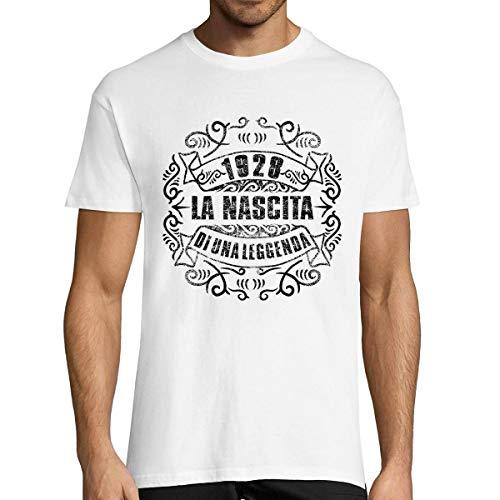Planetee 1928 La Nascita du Una Leggenda  T-Shirt Bianca Uomo Collection Compleanno  Maglietta Umoristica L