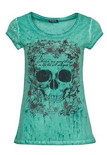 Blue Monkey Damen Rundhalsshirt Mit Pailletten-Motiv Flower Skull Rundhals Kurzarm T-Shirt Slim Fit Bedruckt Flower Skull