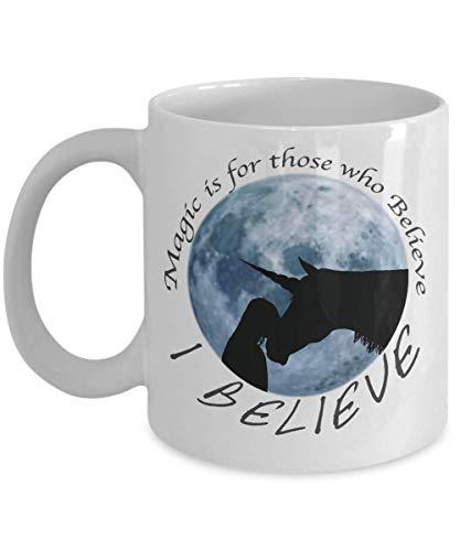 N\A Taza de Unicornio para Hija Adolescente, Sobrina, Hermana, niña, la Magia es para los Que creen, Taza Grande o pequeña de cerámica para Helado, té, café