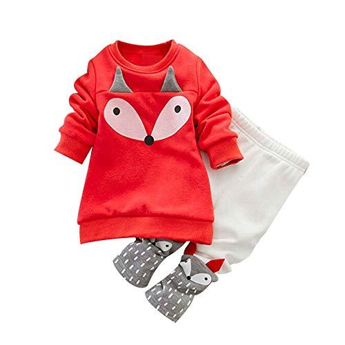 Hawkimin_Babybekleidung Hawkimin BabyJunge Mädchen Fuchs Drucken Langarm Sweatshirt Top + Hosen Outfits Set Kleidung