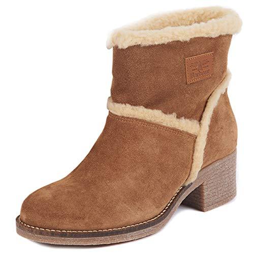 Dames Barbour Frankie Faux Fur Trim Winter Warm Fashion Laarzen met hak - Cognac - 37