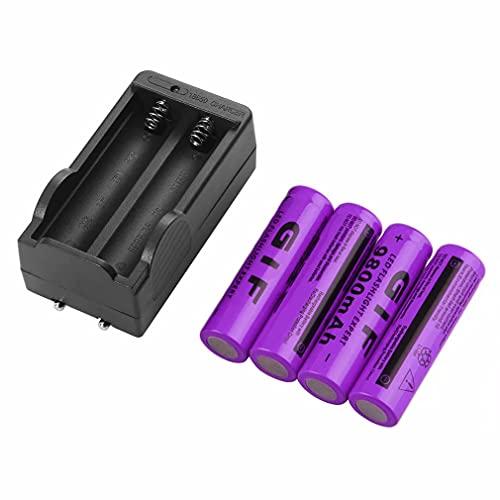 4 Piezas 18650 3,7 V 9800 Mah/9900 Mah batería Recargable de Iones de Litio de Alta Capacidad + 2 Ranuras Cargador rápido Inteligente para Linterna 18650 Faro