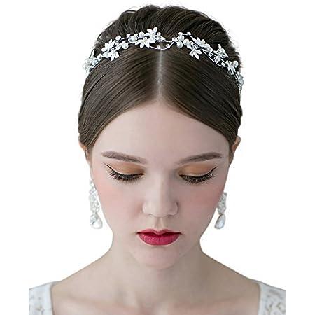 Haarschmuck Tiara Braut Hochzeit Kopfschmuck komunion  Perlen weiß