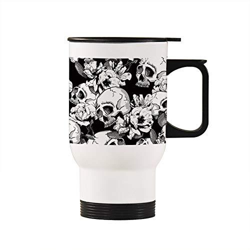 No Brands Taza de café extraíble para té, taza térmica de viaje, color rosa, fondo negro, con asa, regalo práctico para profesores, padres, amantes del hogar, oficina, escuela, 397 g