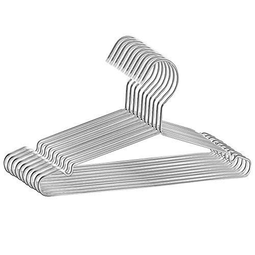 TriEco 42CM Perchas de Acero Inoxidable, Fuertes Perchas de Metal para Abrigos, Chaquetas, Suéteres, Camisetas y Vestidos, Ahorro de Espacio Antideslizante, 10 Piezas