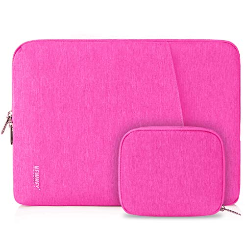 NEWHEY Laptop Sleeve Case 13-14 Inch Water Repellent Laptop Cover Bag Shock Resistant Notebook Protective Bag with Small Case Pink