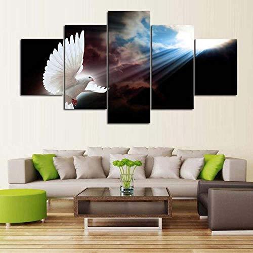 KOPASD Wall Art - Santo Espíritu Blanco Paloma Paz Nubes cristianas 5 Piezas Enmarcado Salon,Dormitorio,Baño,Comedor para la decoración Moderna del hogar(Enmarcado Tamaño 200x100cm)