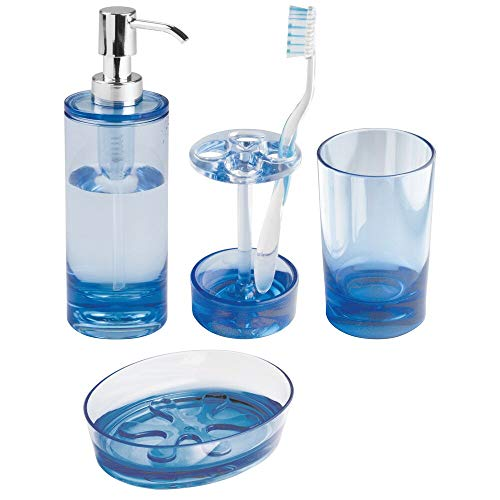 mDesign Plastic Bathroom Vanity Countertop Accessory Set - Includes Refillable Soap Dispenser, Divided Toothbrush Stand, Tumbler Rinsing Cup, Soap Dish - 4 Pieces - Ocean Blue