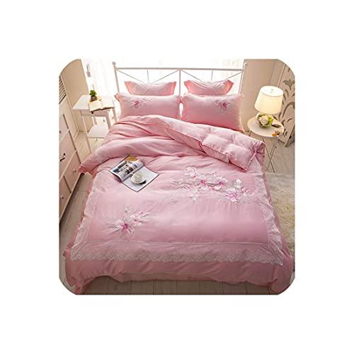 ZMHVOL Set de Cama Bordado de Tencel Juego de Cama tamaño Rey Set de Cama de Matrimonio Soft Summer Duvet Funda WANGHN (Color : 2, Size : Queen6pcs)