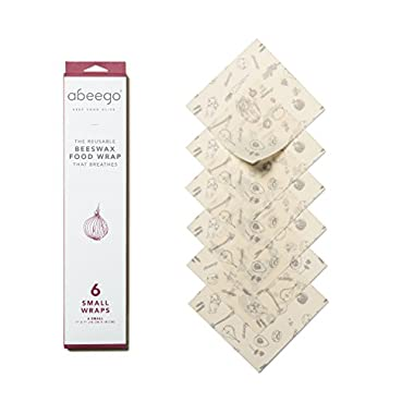 Abeego, The Original Beeswax Food Storage Wrap - Set of Six 7  Natural Square Sheets