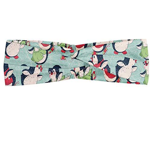ABAKUHAUS pinguïn Hoofdband, Arctic Animals Schaatsen, Elastische en Zachte Bandana voor Dames, voor Sport en Dagelijks Gebruik, Pale Seafoam Multicolor