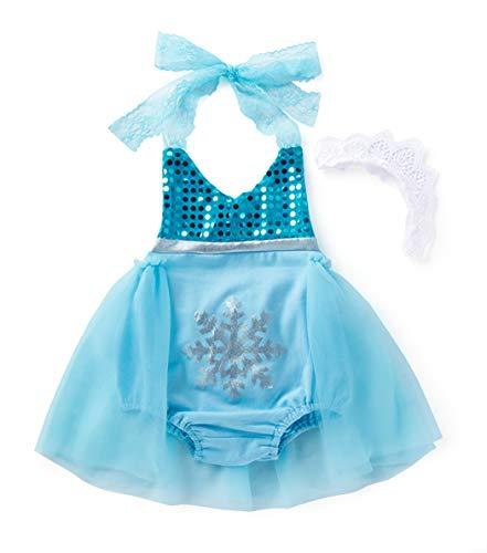 WonderBabe Conjunto de fantasia de princesa com lantejoulas bebê menina da neve cosplay festa de aniversário 73