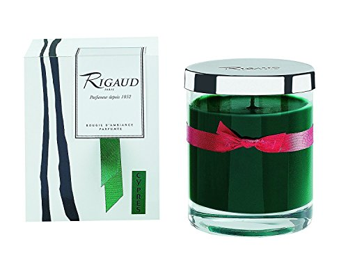 Rigaud Paris, Cypres Bougie D'ambiance Parfumee, Medium Candle 'Modele Complet' with Metal Silver Lid, Green, 5.6 Oz, 60 Hour, Made in France