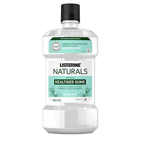 Listerine Naturals Healthier Gums Antiseptic Mouthwash, Fluoride-Free Oral Rinse To Help Prevent Bad Breath, Plaque Build-Up, Gingivitis & Gum Disease, Herbal Mint, 500 mL