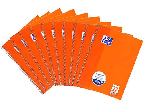 Oxford Collegeblock A4 liniert, 80 Blatt, orange, 10er Pack