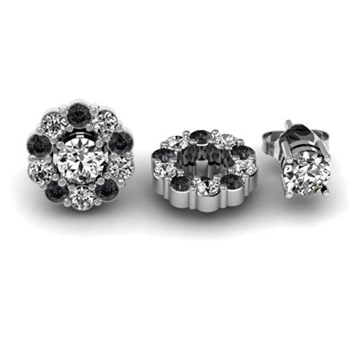 Damen Ohrringe / Ohrstecker 0.65 Karat 18 Karat Weißgold Schwarz & weiß Diamant Blume Abnehmbare Jacken für