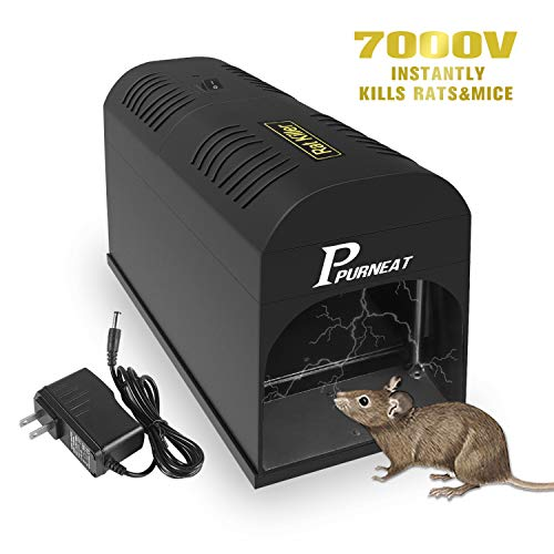 P PURNEAT Electronic Rat Trap- Effective & Powerful Humane Mouse Trap That Works for Rats, Mice – No Poison Use - 7000v Shock Instant Exterminator – [2020 Upgraded] (1 Pack)