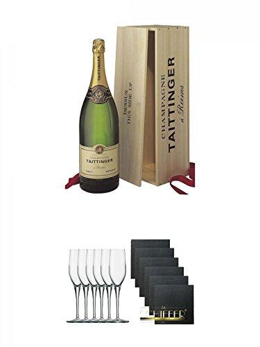Taittinger Brut Reserve Champagner Jeroboam in HK 3,0 Liter + Stölzle Exquisit Sektkelch 6er Pack + Schiefer Glasuntersetzer eckig 6 x ca. 9,5 cm Durchmesser