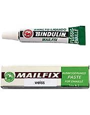 Mailfix van Bindulin 6,5 g - herstelpasta van vloeibare kunststof voor het repareren van email & porselein elimineert beschadigde plekken op geëmailleerde oppervlakken bijv. wasmachine badkuip wastafel tegels - 6,5 gram, kleur wit wit