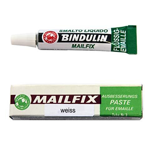 Mailfix von Bindulin 6,5g - Ausbesserungspaste flüssiger Kunststoff zum Ausbessern von Emaille & Porzellan beseitigt Schadstellen an emaillierten Flächen zB Waschmaschine Badewanne Waschbecken Fliesen - 6,5 Gramm, Farbe weiss white