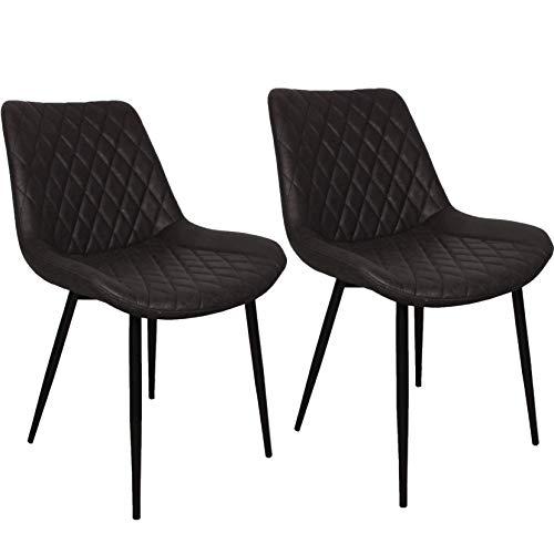 Nimara 2er Set Esszimmerstühle mit Microfaser bezug | Stuhl mit Lederlook Stühle fürr die Lounge, Esszimmer und Wohnzimmer in Retro Design | Esszimmerstühle perfekt für den Esstisch | Schalenstuhl