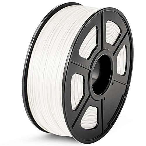 SUNLU Filamento ABS 1.75, Stampante 3D ABS Filamento 1kg Spool Tolleranza del diametro +/- 0,02 mm,ABS Bianco