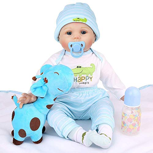 CHAREX Reborn Baby Dolls, 22 Inches Reborn Baby Boy, Lifelike Silicone Realistic Weight Newborn Soft Body Baby Reborn Doll with Baby Crocodile Suit for Age 3+