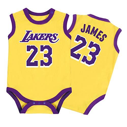 Säuglinge und junge Kinder Lakers James #23 Baby Jungen Basketball Jersey Anzug Sommer Weste Kits Mode Atmungsaktiv Jungen Trainingsshorts Sets, 123, gelb, 90(cm)