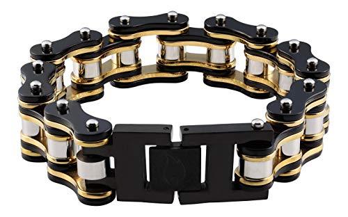 Zippo Herren Black & Gold Bike Chain Bracelet Charm-Armbänder, Schwarz, 22 cm