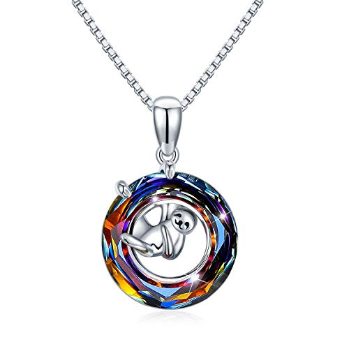 Crystal Multicolor Sloth Necklace