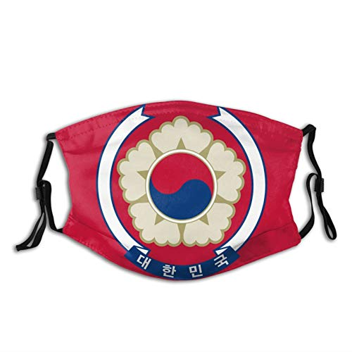 South Korean Flag Fashion Face Mask Unisex, with 2 Filters, Washable and Reusable Outdoor Safety Face Mask, with Adjustable Ear Hook Breathable Adult Balaclava Headband. Black