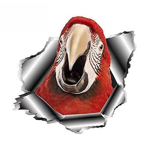 XLYDF Etiqueta engomada del coche de Parrot 3D Torn Metal Metal Ventana de parachoques Pegatinas Reflectantes Pegatinas Animal Coche Estilismo Calcomanías, 13 cm * 12 cm