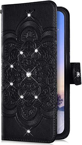 Uposao Kompatibel mit Samsung Galaxy A20S Hülle Leder Handyhülle Bling Glitzer Strass Diamant Mandala Blumen Muster Brieftasche Schutzhülle Flip Case Klapphülle Handy Tasche Etui,Schwarz