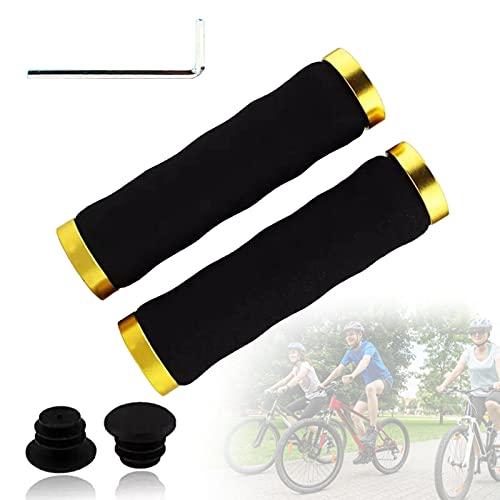 SXJXB Cómodas Empuñaduras de Esponja con Absorción de Impactos para Bicicleta, Empuñaduras para MTB, Manillar con Diseño Ergonómico de Bloqueo Doble, Manillar de Bicicleta,Oro