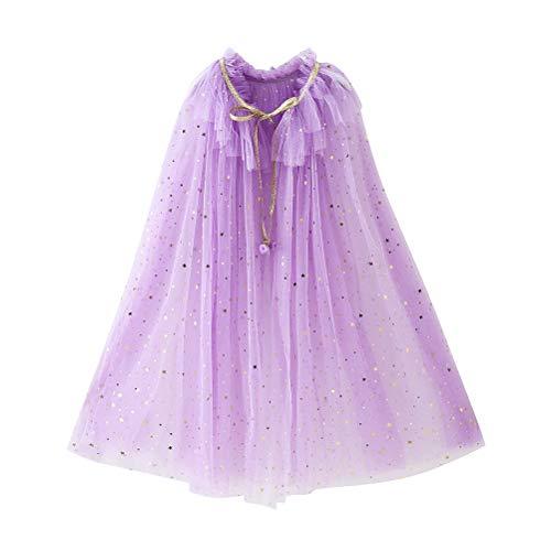 Fenical Kinder Cape Umhang Prinzessin Cosplay Kostüm für Mädchen (Lila, L)