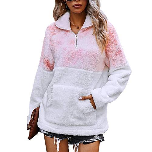 LIVACASA Sweatshirt Damen Winter Warm Hoodie Oversized Weich Mädchen Teddy Fleece Pullover Flauschig Winterpullover Sweater Langarm Pulli mit große Tasche Rosa-weiß M