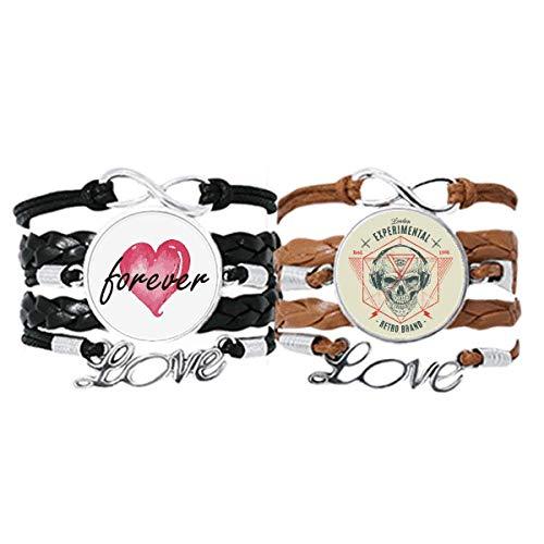 Bestchong Esqueleto indio Sacrificio Tótem Tatuaje Pulsera Correa de mano Cuerda de cuero Forever Love Wristband Set doble