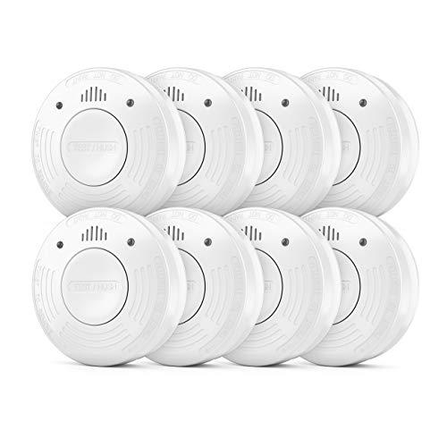 deleyCON 8X Rauchmelder VDs Zertifiziert + DIN EN 14604 10 Jahres Batterie Fotozellen Sensor Rauchwarnmelder Feuermelder Brandmelder Wohnung Haus