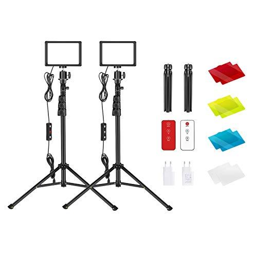 Neewer 2 Pack Luz Video LED USB con Kit de Control Remoto 433HZ - Iluminación de Mesa Continua para Fotografía Regulable 5600K con Soporte para Trípode/Filtros Color/Cargadores