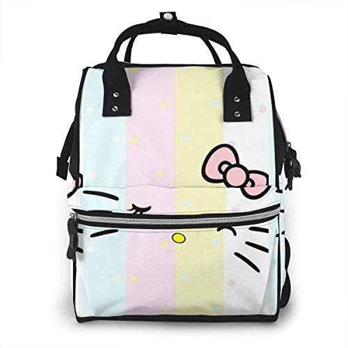 Diaper Bag Backpack - Light Colors Hello Kitty Face Multifunction Waterproof Travel Backpack Maternity Nappy Changing Bags