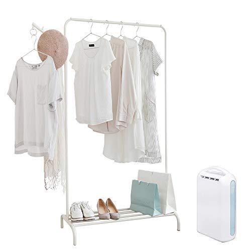 【花粉対策セット】アイリスオーヤマ 洗濯物干し 「干したまま収納」約2人分 ホワイト シンプル HKM-900 + 衣類乾燥除湿機 デシカント式 2.2L IJD-H20-A
