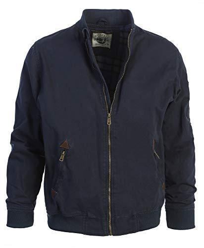 Gioberti Men's Sportwear Full Zipper Twill Bomber Jacket, Navy, XXL