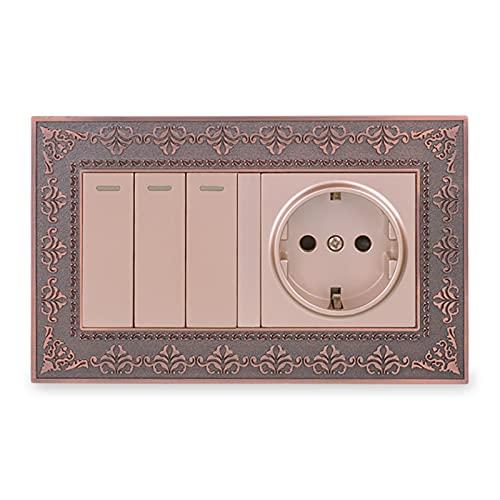 Yuanjing-Switch Toma de Pared del Panel de Metal + 3 Gang 2 Way ON/Off Pass a través del Interruptor de luz Retro en Relieve (Rated Voltage : 110-250V, Type : Wall Socket)