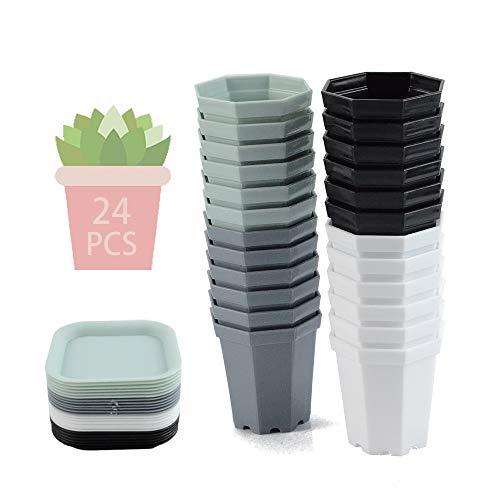 24PCS Piattino Mini Vasi da Plastica,Vaso da Fiori in Plastica Ottagonale,Vasi da Fiori in Plastica con Pallet,Vasi in Plastica per Piante Grasse,Colorati Vasi in Plastica per Fiori